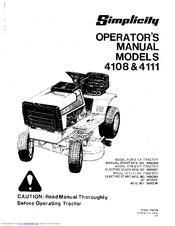 Simplicity 4111 Manuals