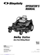 Simplicity Derby Stallion ZT2561 Manuals