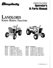 Simplicity Landlord 990314 Manuals