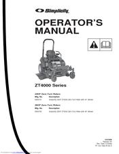 Simplicity ZT4000 Manuals