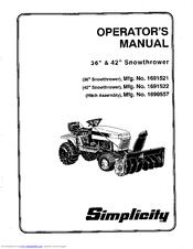 Simplicity 1691521 Manuals