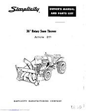Simplicity 311 Manuals