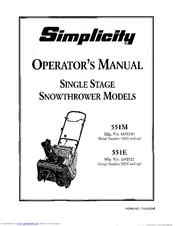 Simplicity 551M Manuals