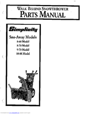 Simplicity Sno-Away 8-60 Manuals