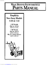Simplicity Sno-Away 7-55 Manuals