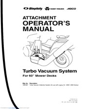 Simplicity Turbo Vacuum Collection System Manuals