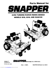 Snapper ZU2013K Manuals