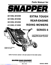 Snapper 3011X6S Manuals