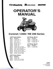 Snapper 2690249 Manuals