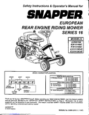 Snapper E281216BE Manuals