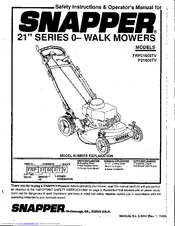 Snapper FRP21600TV Manuals