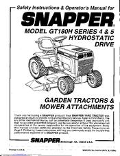 Snapper GT180H Series 5 Manuals
