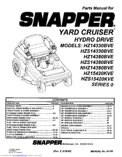 Snapper Yard Cruiser HZ15420KVE Manuals