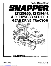 Snapper LT125G33 Manuals
