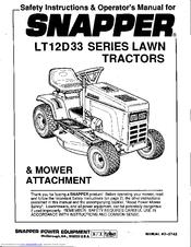 Snapper LT12D33 Series Manuals