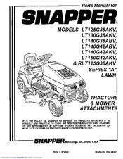 Snapper LT150G42AKV Manuals