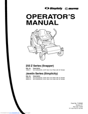 Snapper RZT22500BVE2 Manuals