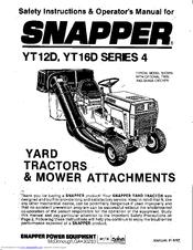 Snapper YT16D Series 4 Manuals