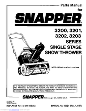 Snapper 3202 Series Manuals