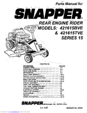 Snapper 421615TVE Manuals