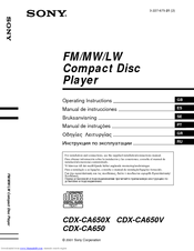 sony cdx ca650x wiring diagram hoppy trailer fm am compact disc player manuals we have 7 available for free pdf download operating instructions manual