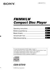 sony cdx gt310 car stereo wiring diagram 1991 nissan 240sx ignition radio cd manuals we have 4 available for free pdf download operating instructions manual installation connections