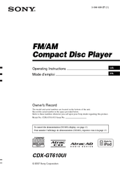 sony cdx gt610ui wiring diagram of titanic ship cd receiver with ipod connection manuals we have 3 available for free pdf download operating instructions manual
