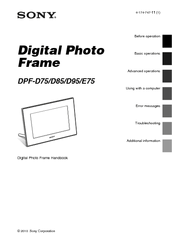 Sony S-Frame DPF-D85 Manuals