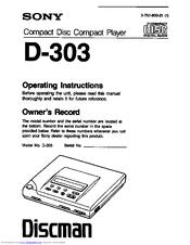 Sony D-303 Manuals