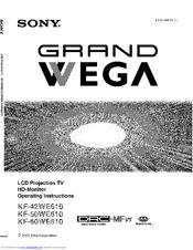 """Sony KF-50WE610 - 50"""" Grand Wega Rear Projection Tv Manuals"""
