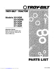 Troy-bilt 3312GRS Manuals