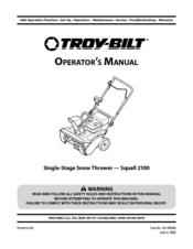 Troy-bilt Squall 2100 Manuals