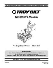 Troy-bilt Storm 8526 Manuals