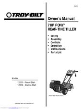 Troy-bilt Pony 12211 Manuals
