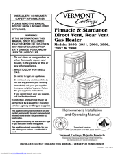 Vermont Castings Pinnacle PDV20RFN Manuals