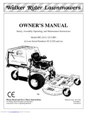 Walker MT, MTL, MTEFI, MTLEFI Manuals