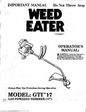 Weed Eater GTI 17 Manuals