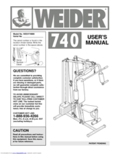 Weider user manual pages   home gym wesy also manuals rh manualslib
