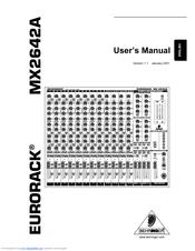 Behringer Eurorack MX2642A Manuals