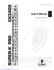 BEHRINGER SUPER-X PRO CX3400 MANUAL PDF