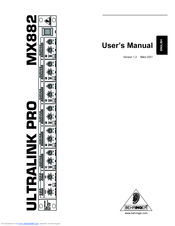 BEHRINGER ULTRALINK PRO MX882 MANUAL PDF