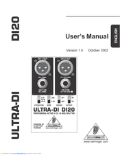 Behringer ULTRA-DI DI20 Manuals