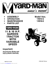 Yard-man 14918-0 Manuals