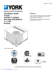 York AFFINITY R-410A Manuals