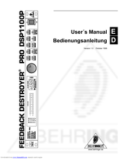 Behringer FEEDBACK DESTROYER PRO DSP1100P Manuals