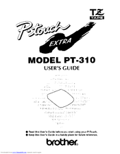Brother P-touch Extra PT-310 Manuals