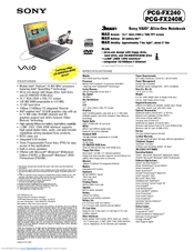 Sony VAIO PCG-FX240K Manuals