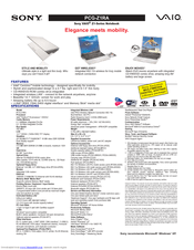 Sony PCG-Z1RA Marketing Specifications Sheet Manuals