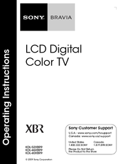 Sony BRAVIA KDL-46XBR9 Manuals