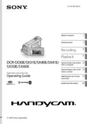Sony Handycam DCR-SX31E Manuals
